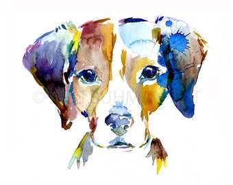 "Print of Watercolor Painting ""Bernard the Beagle"" 8 x 10 Print of Watercolor Painting Pink Fuschia Orange Yellow Dog"