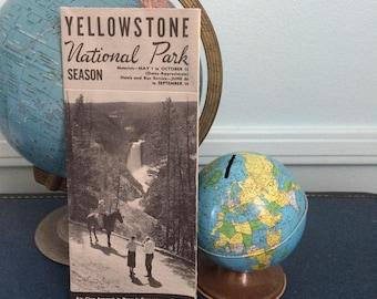 "Vintage Travel Ephemera "" Yellowstone Park Map & Information"" 1948"