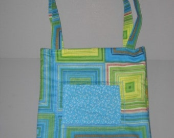 blue and green squared quilted tote bag