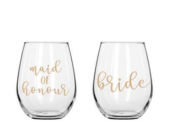 DIY 'stella' Bridal party Glass decal vinyl labels | wedding decals | lowercase | ideal for Champagne Flute/ stemless wine glasses