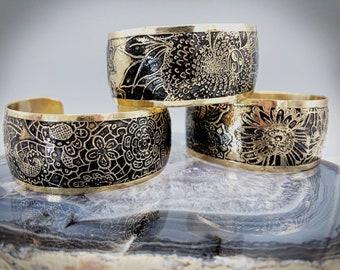 Brass cuff- floral cuff - textured brass - textured cuff - patina cuff - dark patina cuff - etched cuff- floral