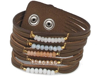 Brown leather and glass cuff  bracelet