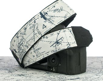 Camera Strap, Aviation Map, dSLR, SLR, Airplane, Mirrorless, Neck Strap, Canon camera strap, Nikon camera strap, Men's, Women's, 301