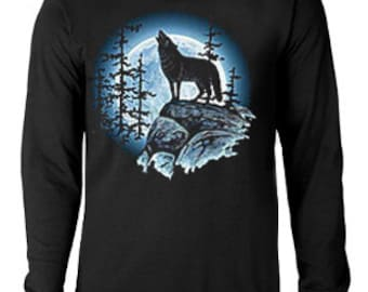Long sleeve T-shirt / Lone Wolf howling at the Moon