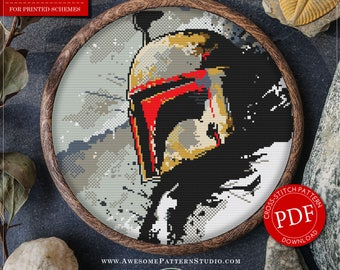 Star Wars Cross Stitch Pattern for Instant Download *P396 | Boba Fett Counted Cross Stitch Pattern| Modern Cross Stitch Pattern