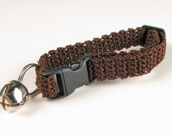 Crochet Cat Collar Chocolate Espresso Brown Breakaway Collar