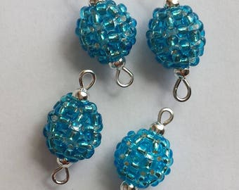 4 beads seed connectors (2.5 mm) silver lined blue