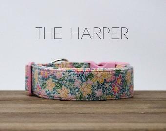 """Multicolor Vintage Floral Inspired Dog Collar """"The Harper"""""""