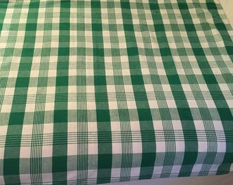 Green and white plaid cotton tablecloth