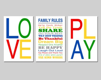Family Rules Sign Playroom Rules Sign Playroom Decor Playroom Wall Art Kids Wall Art Playroom Family Wall Art Set of 3 - CHOOSE YOUR COLORS