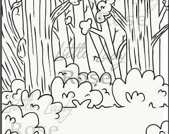 Walk in the woods coloring page