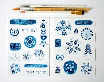 Indigo folk Christmas STICKERS giftwrap, giftpackaging, christmasdecs, christmasgiftwrap