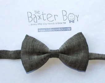 READY TO SHIP ----Charcoal Brown polyester little boy bow tie - photo prop, wedding, ring bearer, accessory