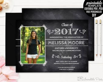Graduation Invitation Template. Printable Chalkboard Graduate Party Invitations. Graduate High School College Graduate School University