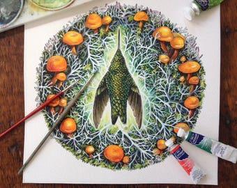 "Original Watercolour painting ""Passing Through"" Hummingbird in faerie ring"