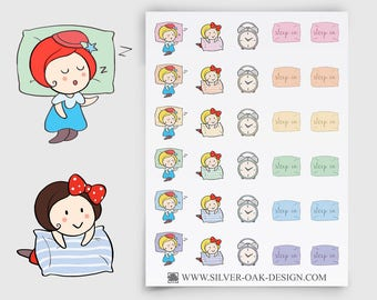 Ruby Sleep In Stickers | alarm clock stickers | sleep in stickers | Erin Condren | Happy Planner | Filofax | sleeping stickers | GRL-050