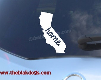 California State Silhouette with home text - vinyl sticker, car decal, state silhouette