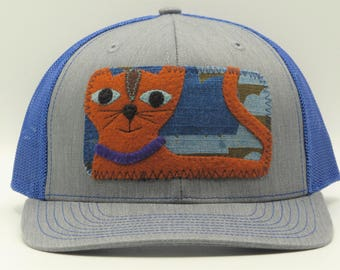 Orange Cat, Blue Trucker Hat