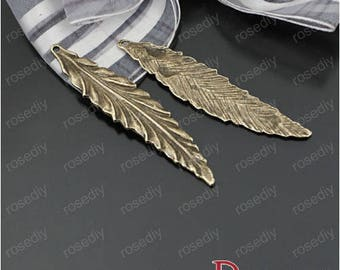 10 charms in bronze 55 * 11MM long wavy leaves D23425