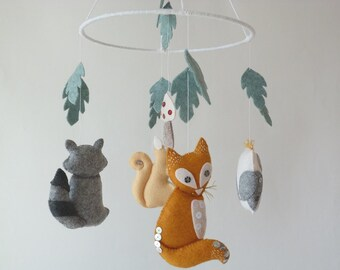 Woodland Friends Mobile - Wool Felt mobile - Baby crib mobile - Woodland Nursery