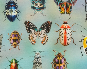 Butterfly and beetle fabric, jersey. SK212