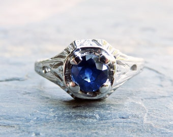 Vintage Sapphire Ring - Art Deco Engagement Ring in 14k White Gold with Solitaire, Filigree, Leaf Motif - Sz 6.25 - September Birthstone