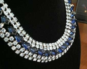 Multi-Strand Rhinestone Necklace, Clear and Sapphire Blue
