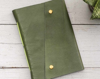 Olive & Neon Green A5 Leather Journal
