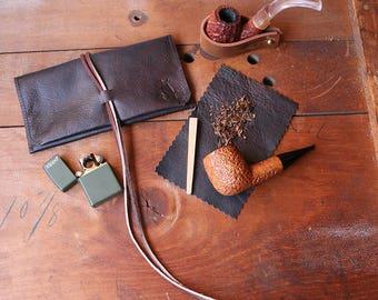 Leather Pipe Pouch * Leather Pipe Roll * Leather Pipe Holder * Leather Pipe Bag * Leather Pipe Case * Leather Pipe Tobacco pouch Tobacco Mat