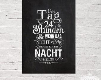 """cute as a button POSTER """"Der Tag hat 24 Stunden / There are 24 hours in a day"""" chalkboard A4  typographic print"""
