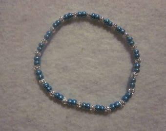 Metallic Teal & Silver Stretch Bracelet