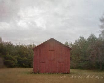 stormy moody wall art, rustic red farmhouse, barn photography, red wall art, country home decor, large rustic cottage living room art