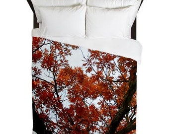 Rustic Bedroom Decor, Tree Bedding, Red, King Duvet Cover, Queen Bedding, Twin Duvet, Rustic Home Decor, Woodland, Cottage, Lakehouse, Cabin