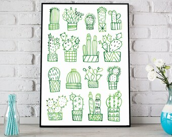 Cactus Print, Cacti Print, Cactus Poster, Green Ink Cactus Poster, Ink Cacti Print, Cactus Illustration, Cactus Art for Home Deco, Cacti Art