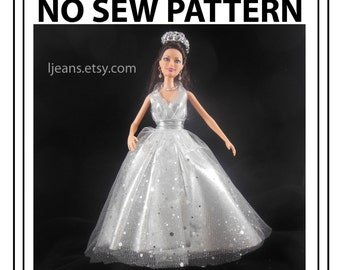 No Sew 11 in Barbie Doll Wrap Queen Evening Dress Pattern