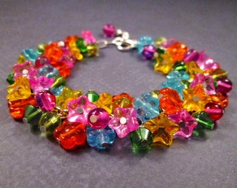 Flower Charm Bracelet, Rainbow Bouquet, Colorful and Silver Beaded Bracelet, FREE Shipping U.S.