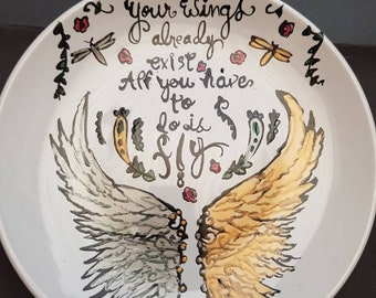 Hand Painted Wings side plate