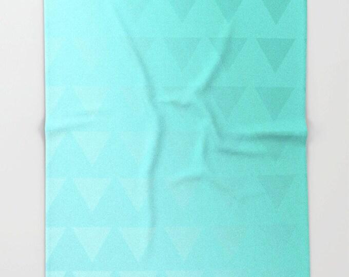 Cyan Fleece Throw Blanket - Bedding - Cyan Ombre - Triangle Art Cyan Fleece Throw Blanket - Blue Green - Made to Order