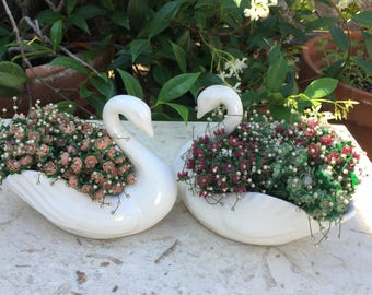 Two 1950s Swan Vases/Planters, Mid Century Porcelain Bird Vases, Vintage Wedding Table Centerpiece