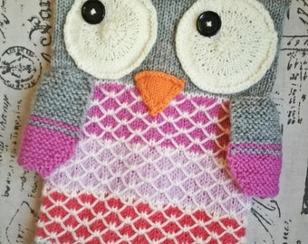 Knitted pajamas, owl, door pillow fun, gift for baby
