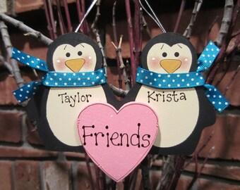 Personalized Penguin Couple Ornament - Friends