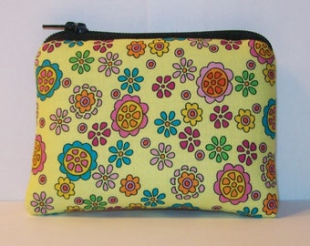 "Pipe Pouch, Padded Pouch, Pipe Case, Pipe Bag, Flowers Pouch, Padded Pipe Bag, Yellow Padded Pouch, Hippie Gift, Mini Coin Purse - 4"" MINI"
