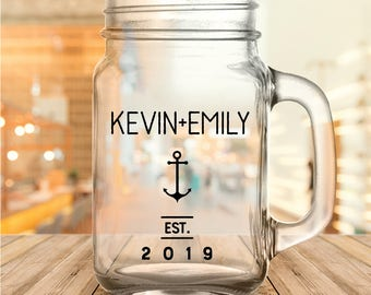 Custom Nautical Anchor Wedding Favor Mason Jars