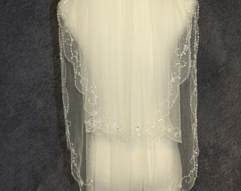 2 layer bridal veil, handmade beaded beaded bridal veil white ivory veil new