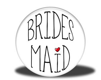 """Wedding Party Title - 1"""" Button - Bridesmaid"""