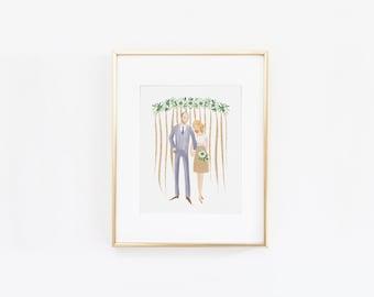 Custom Couple Illustration Wedding Engagement Anniversary Gift Idea