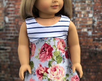 18 Inch Doll DRESS | Mixed Blue Stripe Floral Sleeveless DRESS for Dolls such as American Girl