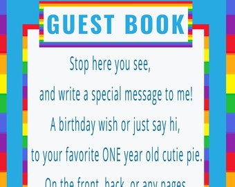 Rainbow Baby Guestbook Sign for 1 year old girl