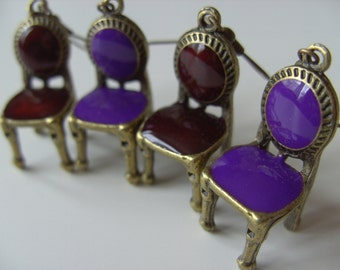 Bronze and burgundy chairs, chair earrings, burgundy, deep red, maroon, miniature, by NewellsJewels on etsy