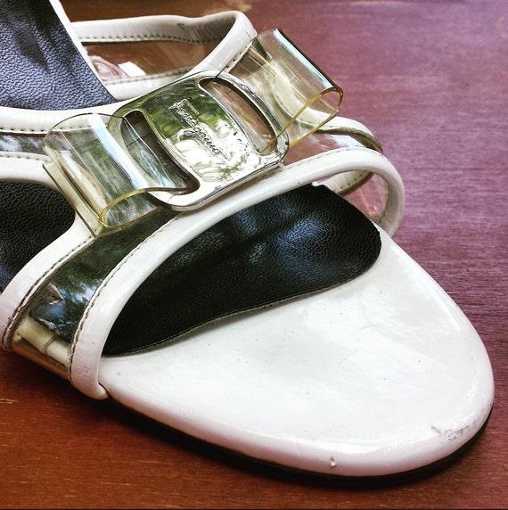 Ferragamo bow white sandal Salvatore 2B pumps size 1980's 7 1 SCqvxw5nnt